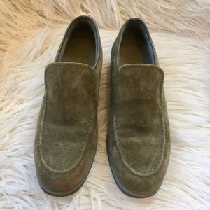 Hush Puppies Olive Green  Suede Almond Toe Loafers